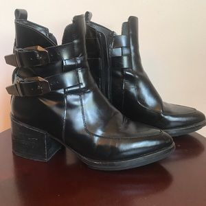 Zara Trafaluc Black Moto Boot Pointed Chunky Heel